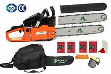 "BU-KO 62cc Petrol Chainsaw 3.4HP 20"" Bar & 2 x Chains + 16"""