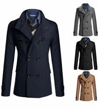 ASIAN SIZE Mens Trench military style jacket Coat Black Beige Blue Grey NEW
