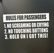 Rules for passengers funny sticker racing JDM car truck diesel ford window decal