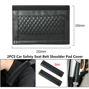 2PCS Car Safety Seat Belt Shoulder Pad Cover Auto Cushion Harness Pad PU Leather