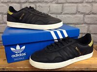 ADIDAS MENS UK 7 EU 40 2/3 BLACK GOLD LEATHER TURF ROYAL TRAINERS RRP £62