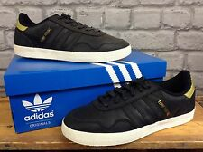 ADIDAS Da Uomo UK 7 EU 40 2/3 BLACK GOLD LEATHER Turf Royal Scarpe Da Ginnastica Rrp £ 62