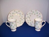 Royal Victoria of England 2 Mugs & 2 Dessert Plates Red & Blue Flowers Vintage