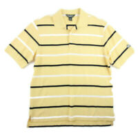 Brooks Brothers Mens Performance Polo Shirt Yellow Striped Short Sleeve Size M