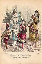 """136/ GRAVURE DE MODE """"  JOURNAL des DEMOISELLES """" 1886 SUPERBES COULEURS !"""