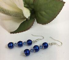 Womens Faux Glass Pearl Royal Blue Bicone Beads Silvertone Peirced Earrings