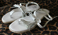 COUNTRY ROAD ~ Summer White Leather Thong Toe Sandals w Tassels 38 Aus 7 NWOT