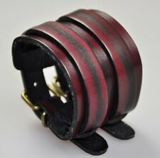 JS58 Vintage 2-Tone Double Layers Genuine Leather Bracelet Wristband Cuff RED