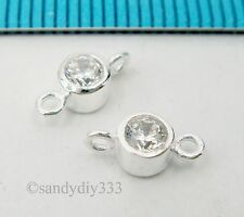 4x STERLING SILVER CZ CRYSTAL LINK CONNECTOR SPACER BEAD 4mm #1180