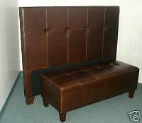 Queen Size Genuine Leather Headboard for bed & Matching Bench