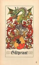 1880 ARALDICO STEMMA DI FAMIGLIA stampa ~ hiltprand ~ BASILEA