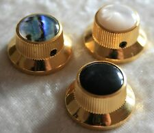 Knopf Potiknopf in gold mit schwarzer Einlage Hutknopf Reglerknopf