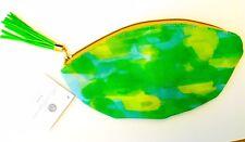 NEW! Thimblepress Pouch Bag Green Tie Dye Paint Design Fringe Pull Zipper Purse