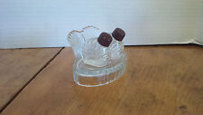 """Mini chicken Salt and Pepper shakers on tray 1 1/2"""" tall  Bakelite tops1940's?"""