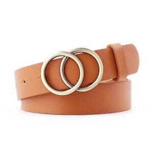 Women's Adjustable Waist Belt Alloy Double Ring Circle Buckles Waistband Fashion