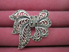 Sterling Silver / Marcasite Ribbon Brooch