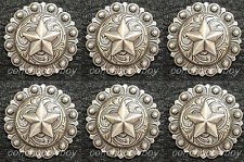 "Set of 6 HORSE HEADSTALL SADDLE TACK ANTIQUE STAR BERRY CONCHOS 1"" screw back"