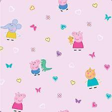 OFFICIEL Peppa Pig Papier peint rose chambre Papillons Cœurs wp4-pep-pig-12