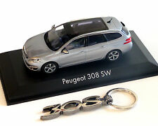 Peugeot 308 SW silber-Metallic, 1:43 und Schlüsselanhänger