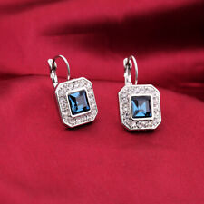 Art Deco Vintage Crystal Bridal Blue Drop Silver Sparkle Stud Earrings UK