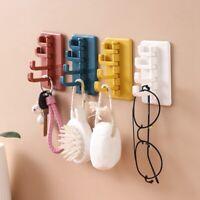 ABS Self Adhesive Coat Rack 4 Hook Folding Wall Mounted Clothes Plsei S5F6