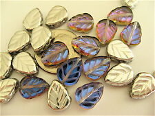 25 Crystal Volcano Czech Glass Leaves 10mm x 8mm
