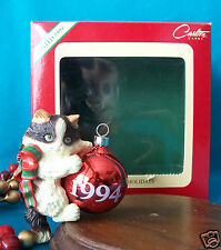 CARLTON ORNAMENT 1994 Purr-fect Holidays Cat Kitten In Box