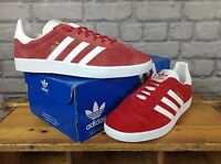 ADIDAS MENS UK 7,8,9,10 RED SUEDE GAZELLE OG TRAINERS RE DYE S76228