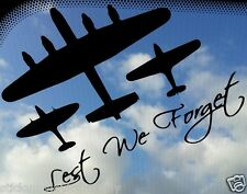 Lancaster Bomber, Spitfire, Hurricane Lest We Forget Car Decal/Sticker BBMF WW2