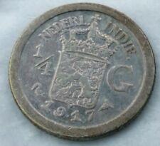 """1/4 Gulden 1917 silver India Nederland( ERROR """"CUD"""" iron center)"""