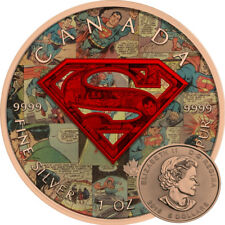 SUPERMAN SHIELD COMICS - 2016 Canadian 1 oz Pure Silver Coin - Color & Pink Gold