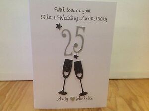 Handmade personalised Silver wedding anniversary card- personalised with names