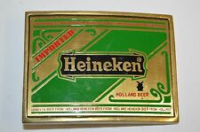 Vintage 1978 HEINEKEN Beer Label LOGO Solid Brass Belt Buckle MINTY Rare