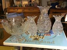 Lead Crystal Footed Fruit Bowl, 2 Candle holders, Vase all * Pineapple Design *