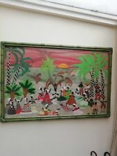 More details for fabulous vintage large carribean scene fabric collage