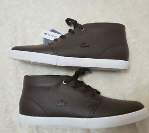 NWT Lacoste Asparta Ortholite Men's High Top Shoes US Size 12 Brown