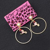Women's Enamel Round Little Bird Charm Earbob Dangle Betsey Johnson Earrings