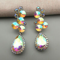 Betsey Johnson AB Crystal Rhinestone Flower Teardrop Drop Earrings