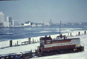 CP CANADIAN PACIFIC Railroad Train Locomotive 6705 WINDSOR ON 1962 Photo Slide