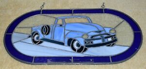 VINTAGE STAINED GLASS LEADED 1950'S CHEVROLET 3100 PICK UP DESIGNED COLLECTIBLE