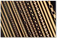 Collier Bracelet Chaîne Cheville argent massif 925 sterling Plaqué OR jeune 14k
