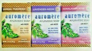 Auromere Ayurvedic Soap Turmeric, Lavender, Himalayan Variety Pack of 3
