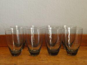 VINTAGE RETRO MID-CENTURY SET OF 8 SMOKED GREY THIN GLASS DRINKING GLASSES 8.8CM