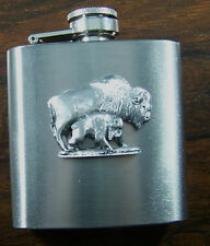 3oz Stainless Steel Hip Flask Pewter Buffalo / Bison Emblem FREE UK POST RAOB