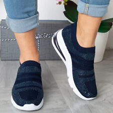 Womens Running Trainers Sneakers Slip On Diamante Ladies Jogging Gym Wedge Shoes