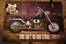 """Harley Davidson motorcycle Beer Poster """"This Ain't No Bar Stool"""" dated 2000."""