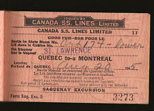 !945 Canada Steamship Lines Montreal to Saguenay River  3 tickets inside