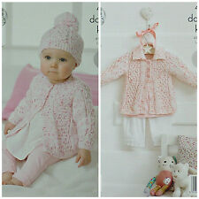 KNITTING PATTERN Baby's Easy Knit Hat Collared Jacket Cardigan Smarty DK KC 4315