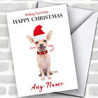 Chihuahua Candy Cane Animal Personalized Christmas Card