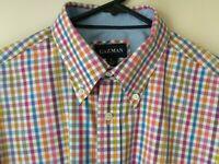 GAZMAN Large Shirt Men's Short Sleeve Summer Cotton White Blue Red Orange Casual